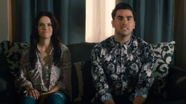 Topman Black Rose Print Long Sleeve Shirt worn by David Rose (Daniel Levy) in Schitt's Creek (S01E10)