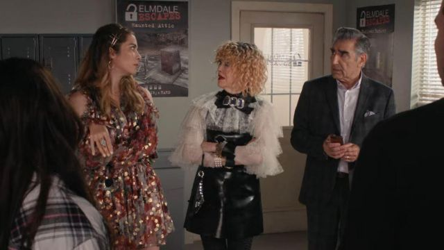 Alexander McQueen Gray Cold-Shoulder Metallic Fil Coupé Silk-Blend Chiffon Mini Dress worn by Alexis Rose (Annie Murphy) in Schitt's Creek (S06E11)