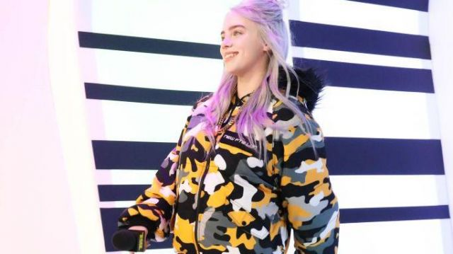 Yello camoflage pants worn by Billie Eilish in Billie Eilish - Funny Moments