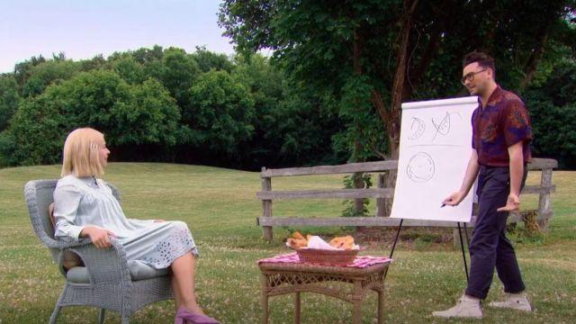 Prada Brown Camp Col Imprimé Tissé Chemise portée par Daniel Levy dans Le Grand Salon de la Boulangerie Canadienne (S02E05)