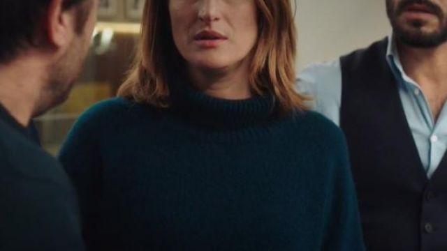 Pull à col roulé vert canard de Andréa Martel (Camille Cottin) dans Dix Pour Cent (S04E01)