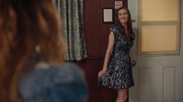 Iro Flavia Metallic Silk Cap-Sleeve Dress worn by Twyla Sands (Sarah Levy) in Schitt's Creek (S06E13)