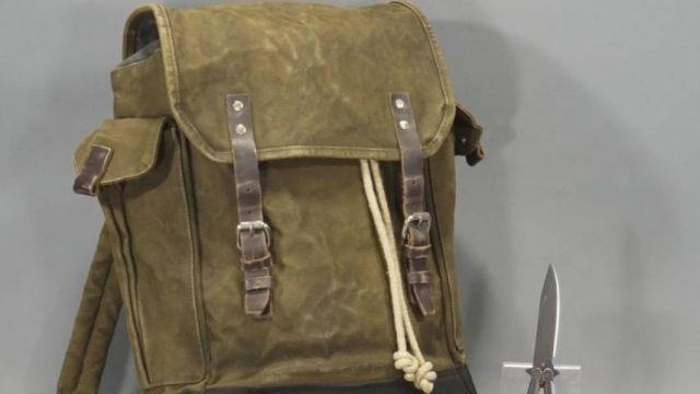 Backpack of Lara Croft (Alicia Vikander) in the movie Tomb Raider