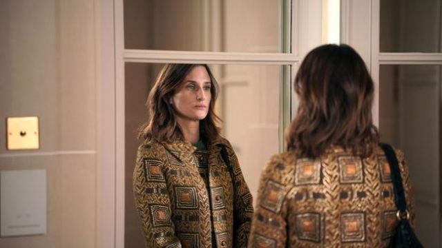 Golden jacket worn by Andréa Martel (Camille Cottin) in Ten Percent (S04E05)