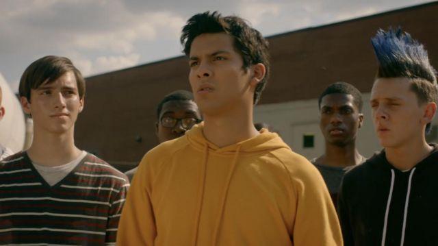 Yellow pullover hoodie worn by Miguel (Xolo Maridueña) as seen in Cobra Kai S02E02