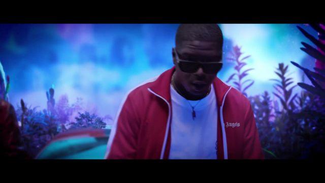 Veste rouge Palm Angels portée par Ninho dans DJ Quick ft Ninho & Hamza - Elle m'a dit (Clip Officiel)