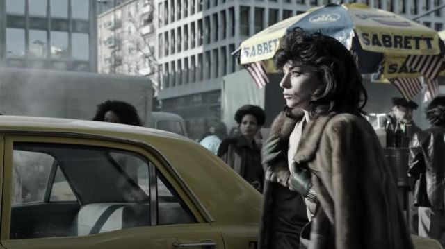 Brown Fur Coat worn by Patrizia Reggiani (Lady Gaga) in House of Gucci movie