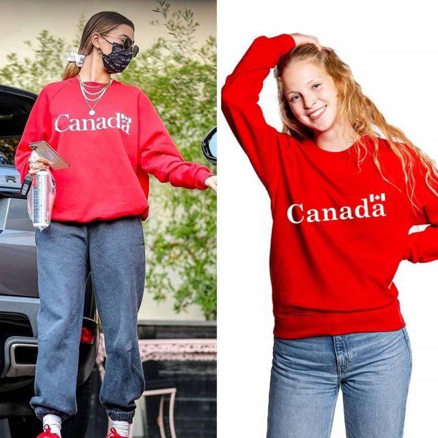 Canada Red Graphic Unisex Crewneck Sweatshirt of Hailey Baldwin on the Instagram account @khantdesigns