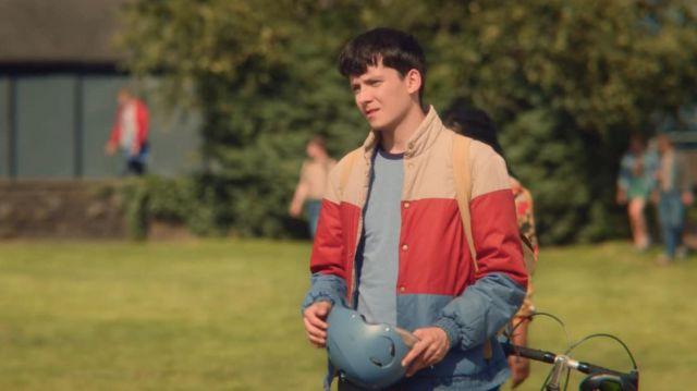 Colorblock Windbreaker Jacket worn by Otis Milburn (Asa Butterfield) from Sex Education wardrobe (Season 1 Episode 6)