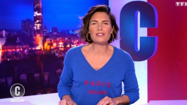 Pull col v Paris calling 100% cachemire Madluv de Alessandra Sublet dans C'est Canteloup