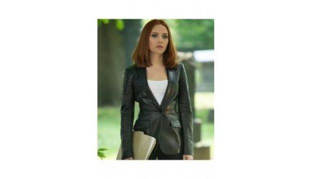 Black leather single button blazer worn by Natasha Romanoff / Black Widow (Scarlett Johansson) in Captain America: The Winter Soldier