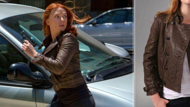 Brown leather belted bomber jacket worn by Natasha Romanoff / Black Widow (Scarlett Johansson) in Captain America: The Winter Soldier
