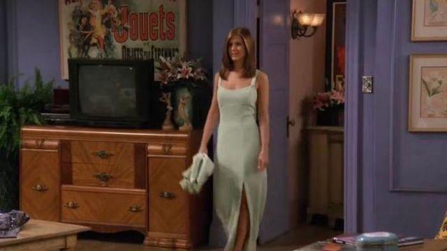 Robe verte menthe à l'eau sans manches de Rachel Green (Jennifer Aniston) dans Friends (S03E02)