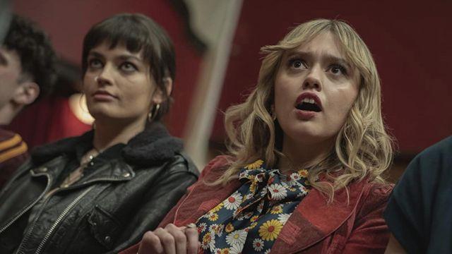 Sherpa leather jacket worn by Maeve Wiley (Emma Mackey) as seen in Sex Education TV series wardrobe (Season 3 Episode 6)