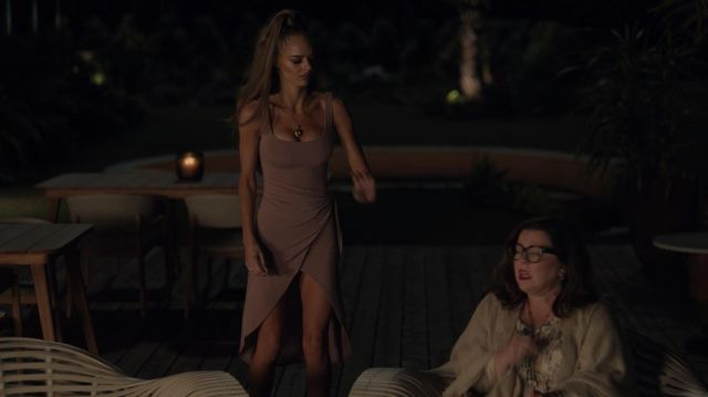 Lovers + Friends Kahlo Midi Dress in Tan worn by Jessica Chandler (Samara Weaving) as seen in Nine Perfect Strangers TV series (S01E02)