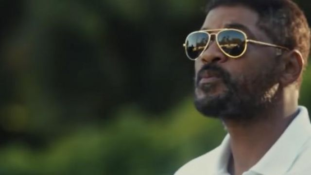 Aviator Gold Sunglasses worn by Richard Williams (Will Smith) as seen in King Richard movie