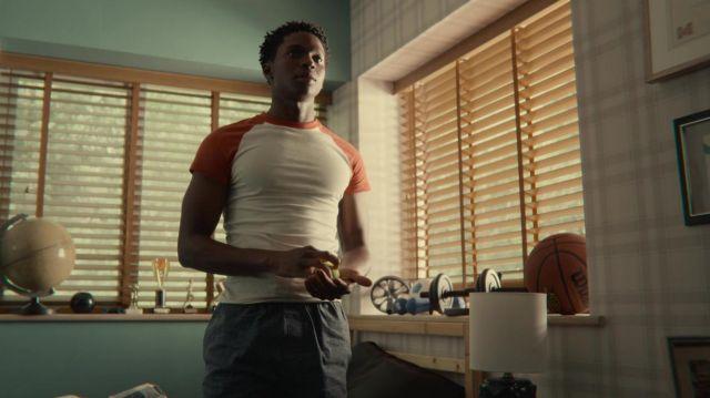 Raglan tee worn by Jackson Marchetti (Kedar Williams-Stirling) as seen in Sex Education TV series (S03E08)