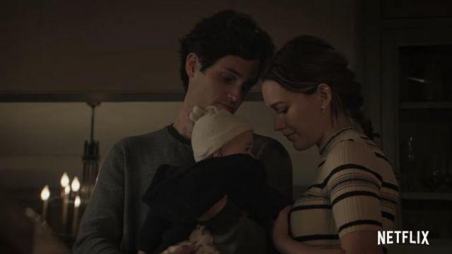 Theory Stripe Rib Pullover worn by Love Quinn (Victoria Pedretti) as seen in You (Season 3)
