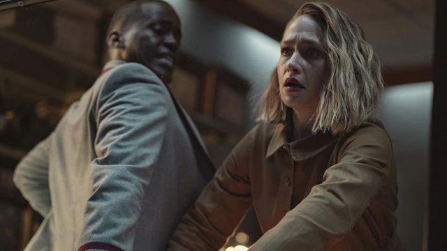 Shirt jacket worn by Hope Haddon (Jemima Kirke) as seen in Sex Education TV series (S03E07)