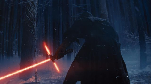 The replica of the lightsaber from Kyo Ren (Adam Driver) in Star Wars 7