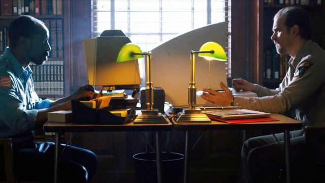 The lamps-style Bankers, in the offices of the Sheriff of Stranger Things season 1