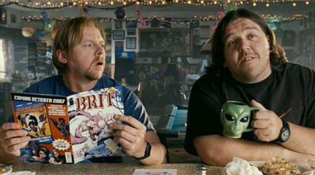 The Alien Mug hold by Nick Frost in Paul