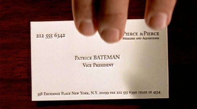 Business Card of Patrick Bateman (Christian Bale) as seen in American Psycho