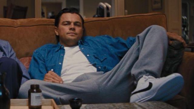 The sneaker Nike Cortez Classic of Jordan Belfort (Leonardo DiCaprio) in The wolf of Wall Street