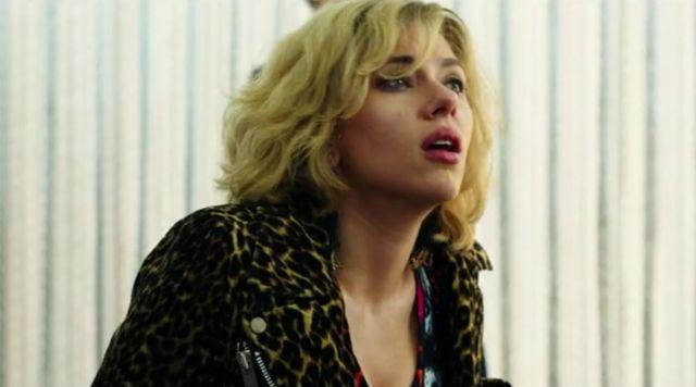 The biker jacket leopard Lucy (Scarlett Johansson) in Lucy