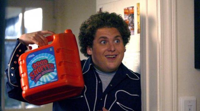 "The bottle of detergent ""Good Shopper"" of Seth (Jonah Hill) in Supergrave / Superbad"