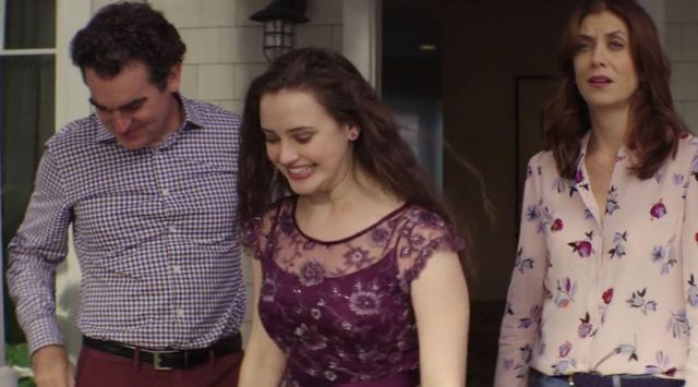 The purple dress by Hannah Baker (Katherine Langford) in 13 Reasons Why S01E05