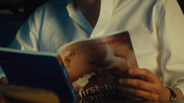 """The book """"First Time Parents"""" by Mark Darcy (Colin Firth) in Bridget Jones Baby"""