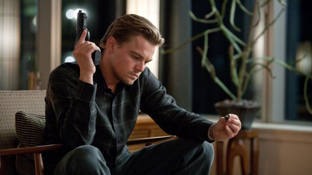The spinning of Dominic Cobb (Leonardo DiCaprio) in Inception
