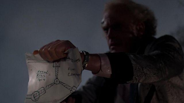 La réplique du plan du Flux Capacitor de Doc Brown (Christopher Lloyd) dans Retour vers le futur