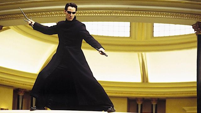 The true long coat worn by Neo (Keanu Reeves) in the Matrix Reloaded