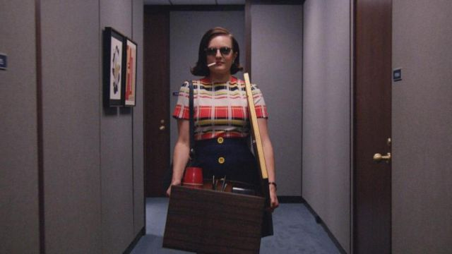 The cardboard moving of Peggy Olson (Elisabeth Moss) in Mad Men