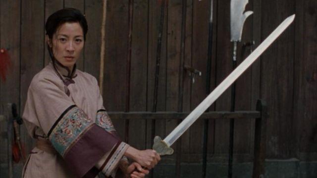 "The sword ""Green Destiny to Shu Lien (Michelle Yeoh) in crouching Tiger, hidden Dragon"