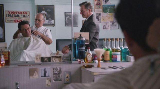 Don Draper's (Jon Hamm) barber's Vitalis hair tonic in Mad Men S05E12