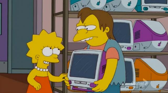 The computer imac g3 purple of Lisa Simpson in The Simpsons