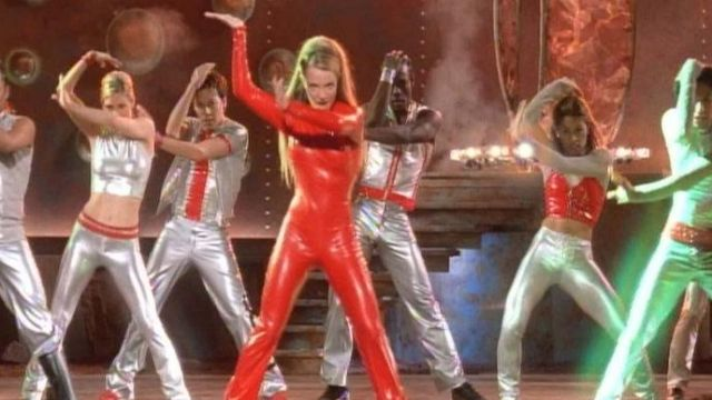 The Legging In Red Vinyl Of Britney Spears In The Clip Oops I Did It Again Spotern