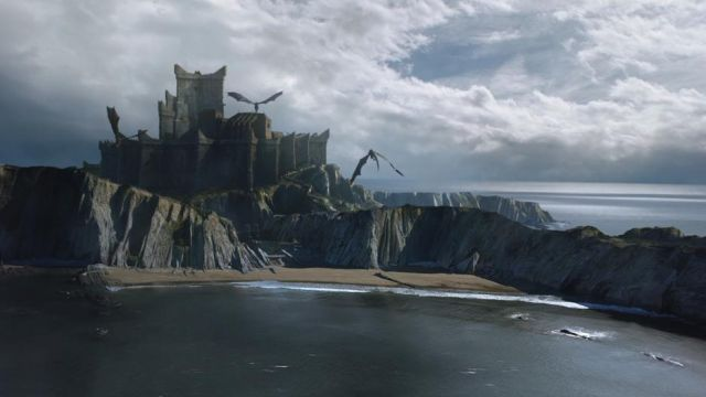 The beach of Itzurun of the village of Zumaia in the basque Country of spain, the filming location of Peyredragon in Game of Thrones S07E01