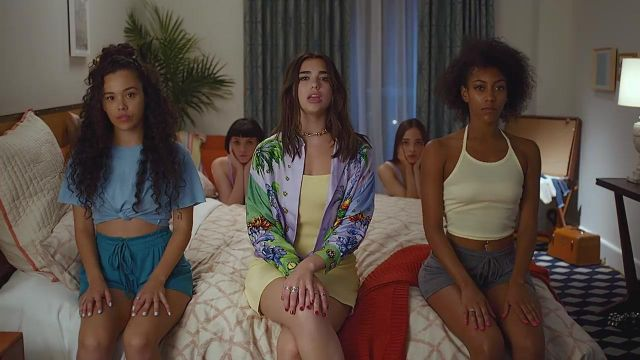 Versace Printed Blouse worn by Dua Lipa as seen in New Rules Video Clip