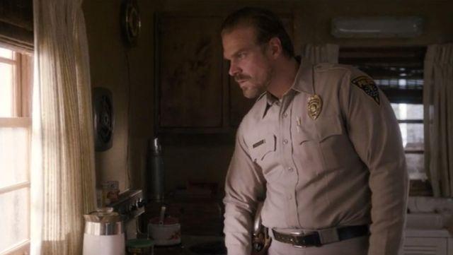 The badge of police Hawkins, Jim Hopper (David Harbour) in Stranger Things S01E02