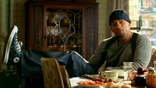 Sneakers Converse CT Hi Black leather officer Del Spooner (Will Smith) in I, Robot