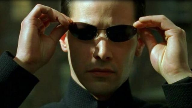 The glasses of Neo (Keanu Reeves) in the Matrix
