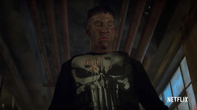 The breastplate is stamped with The Punisher, Frank Castle (Jon Bernthal) in Marvel's The Punisher season: 1