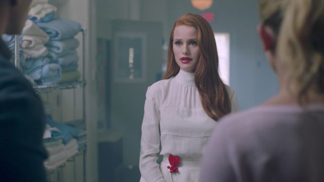 Vintage red Bakelite cherries and heart pin worn by Cheryl Blossom (Madelaine Petsch) as seen in Riverdale S02E01