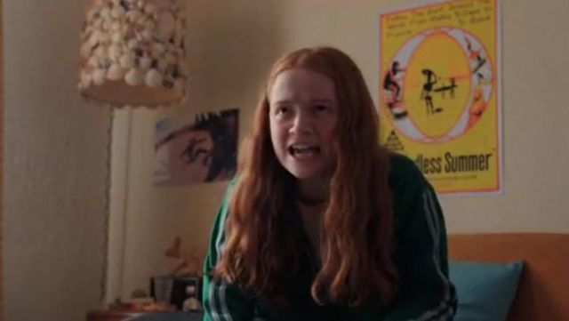 """the poster """"The Endless Summer"""" in the bedroom of Max (Sadie Sink) in Stranger Things S02E06"""