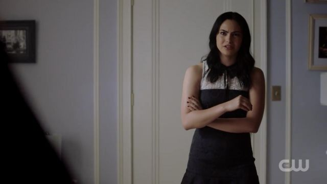 The black brocart dress by Sandro worn by Veronica Lodge (Camila Mendes) in Riverdale 2x06