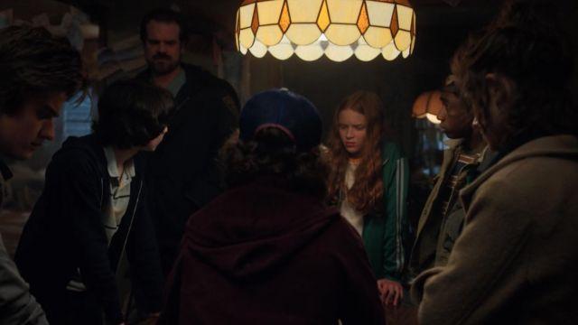 The side striped sleeve zip up jacket worn by Mad Max (Sadie Sink) in Stranger Things 2x08